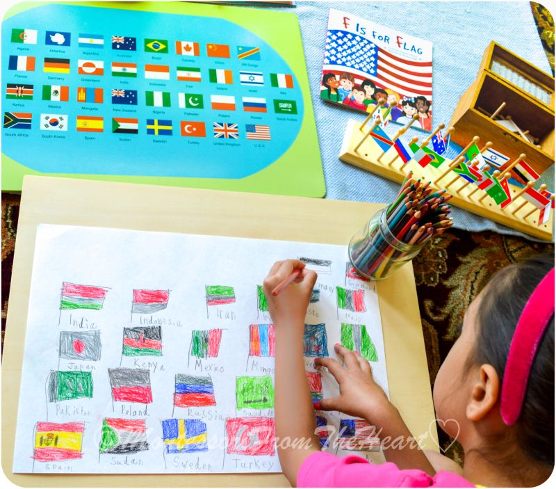 Flag day montessori early childhood educational materials flag day montessori early childhood educational materials geography flag stand world map with gumiabroncs Images