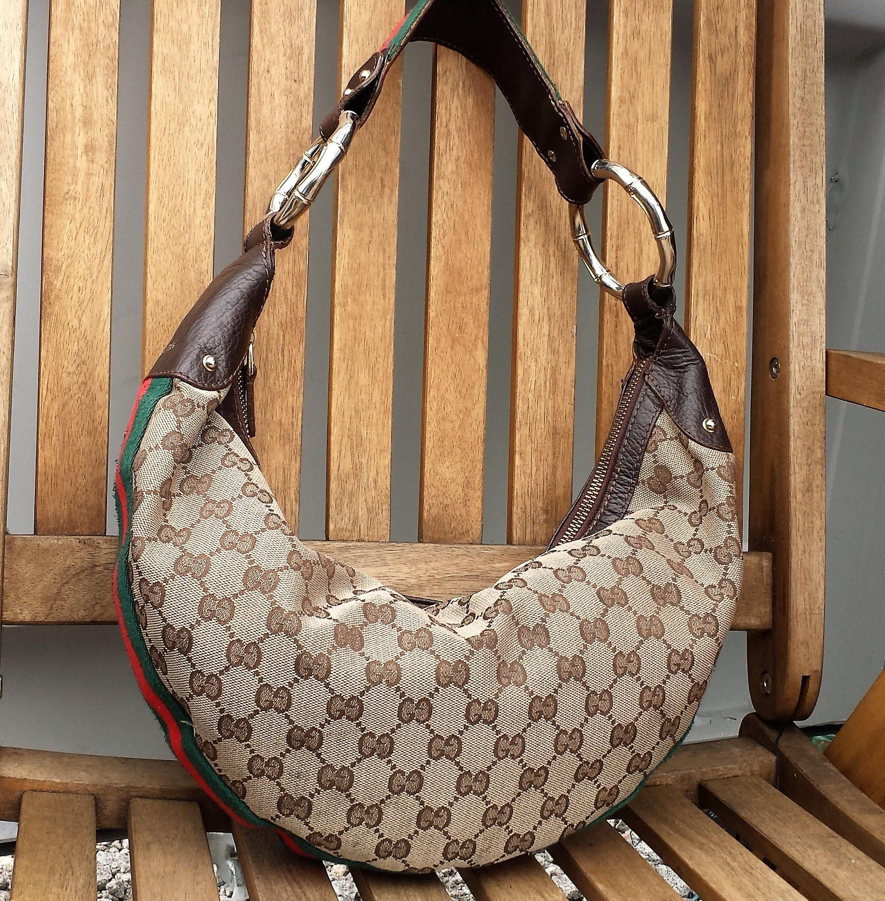 18aff6c3958 Vintage Gucci Leather and Monogram Hobo Handbag   Purse by LuckSy on Etsy