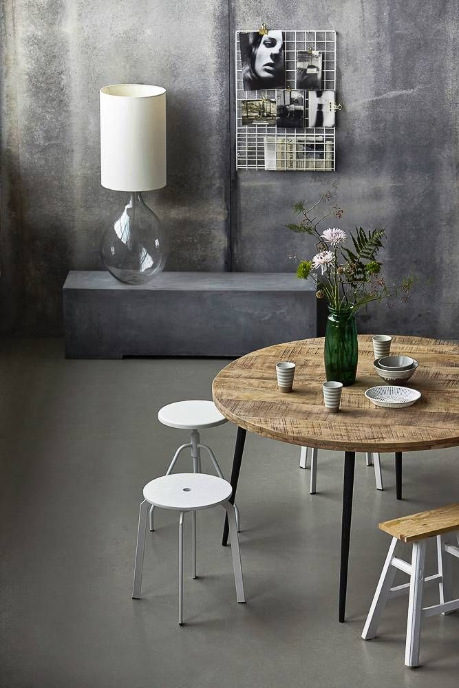 Keuken Mangohout Eettafel Club Donker Blad | Kitchen - Round Dining Table