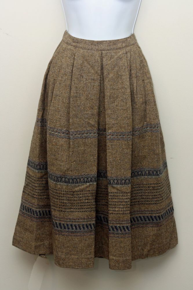 c14c7f26f Vintage 80s Victoire Brown Wool Midi A-Line Skirt Size 8 #Victoire #ALine
