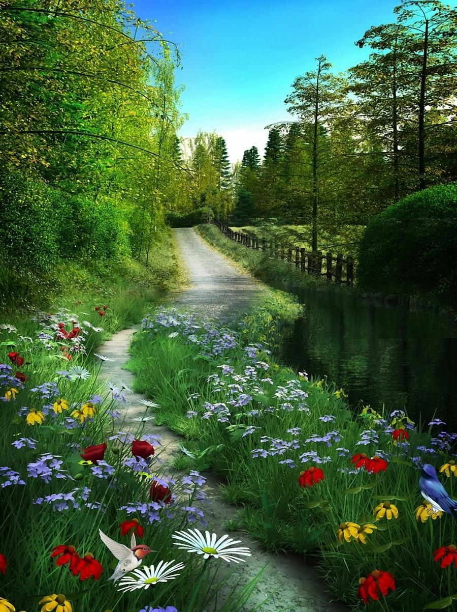 Path Of Spring Pixdaus Art And Geography This Is A Picture Of A Real Scene In The Background Wi Beautiful Nature Beautiful Landscapes Nature Photography