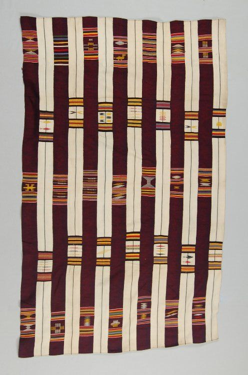 "British Museum Af1934,0307.169 One of a group of cloths collected by Beving in ""Quittah"" or Keta in the Volta region in the late C19th that raise questions about the layout of at least some early Ewe textiles."