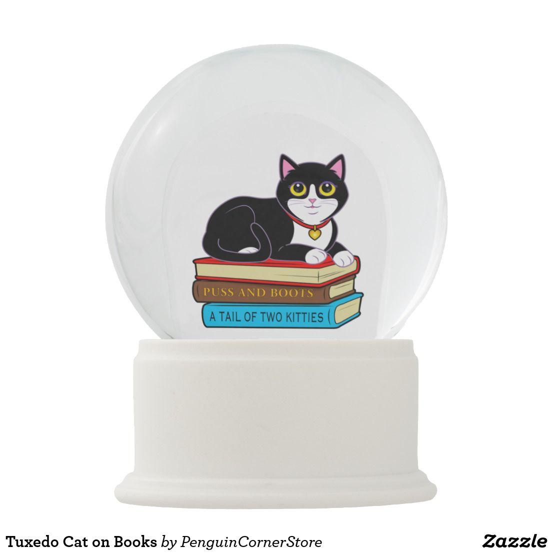 Tuxedo Cat On Books Snow Globe Zazzle Com Snow Globes Tuxedo Cat Tabby Cat