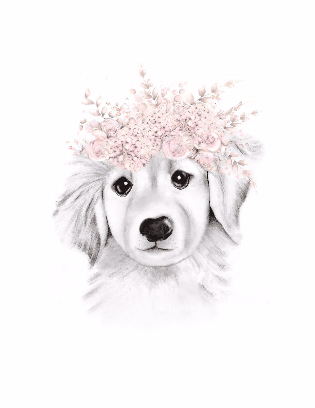 Puppy Flower Crown Print by Nicky
