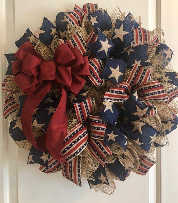 Photo of Primitive Patriotic Deco Mesh Wreath – Products – Burlap Wreath