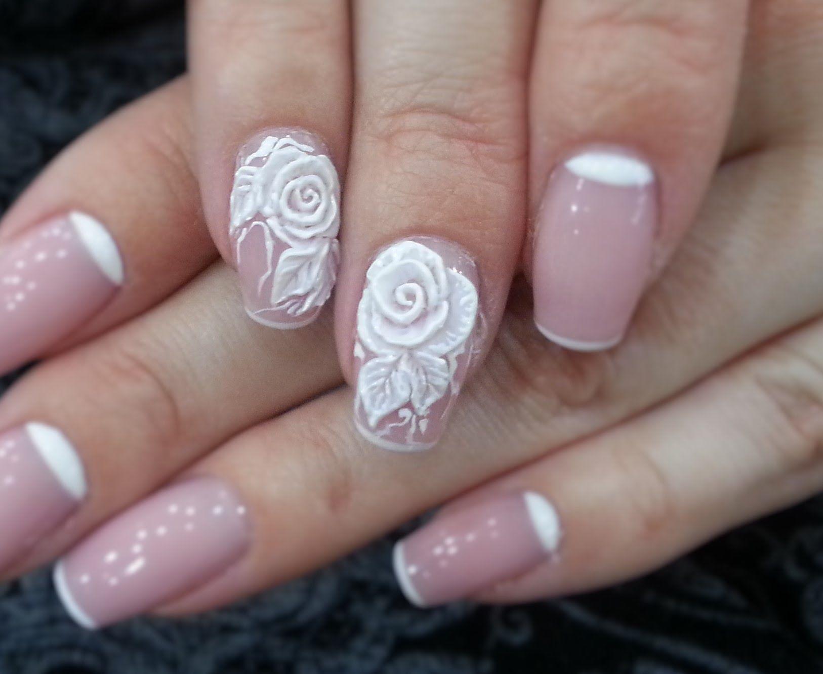 Дизайн ногтей. Лепка 4Dгелем Роза Гвоздь, Ногти невесты