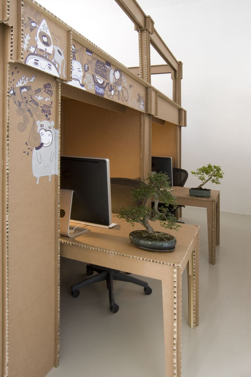 Office workspace 17 inspiring fantastic advertising agency interior office designs exciting cardboard office table and bulkhead with imac computer and