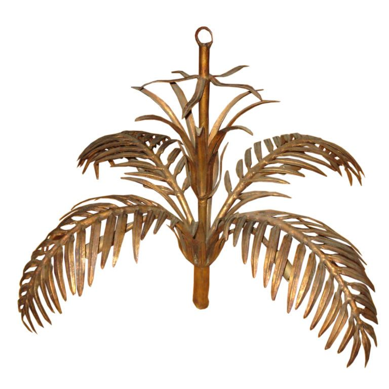 1stdibs Midcentury Gilded Tin Palm Tree Chandelier Explore Items From 1 700 Global Dealers At