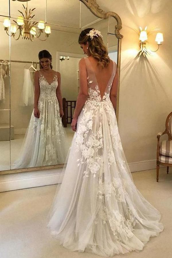 Gorgeous A-line Lace V-neck Tulle Long Wedding Dress with Appliques,Fall Bridal Gown
