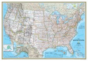 National Geographic USA Map Classic Mounted National Geographic - Us map with scale of miles