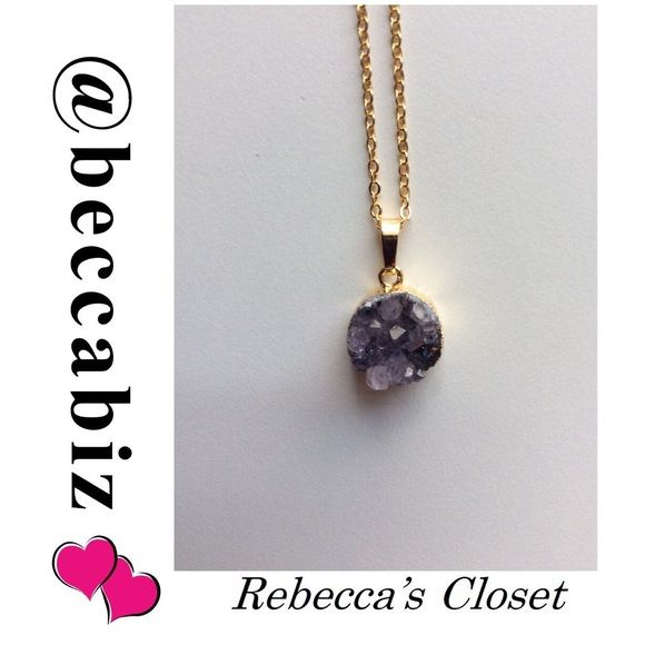 """Amethyst stone 24k gold plated #3 Host pick 5/29/16 Best in Retail party by @jelwrnz      Amethyst is believed to promote healing, peace, spiritual growth and helps dissolve negativity.   Stone is visible on both sides of necklace. Each stone is unique in shade and cut.   Beautiful bright  24k gold plated non tarnish 18"""" necklace with raw pure amethyst stone measuring 1/2"""" in round pendant.  This is necklace #3. Made in the USA.   Perfect to bundle with clothing or other jewelry.  Price firm…"""