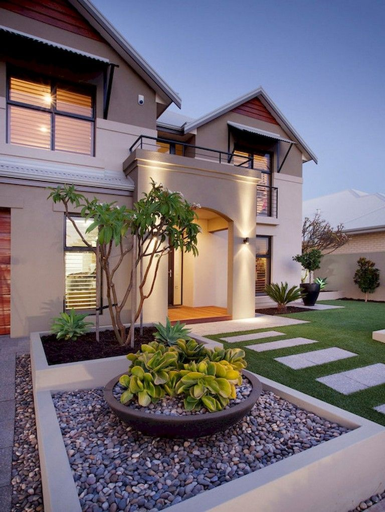 91 Beauty Low Maintenance Front Yard Landscaping Ideas Front Yard Landscaping Design Modern Front Yard Front Yard Design