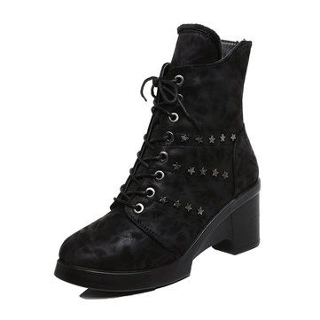 Star Chunky Heel Lace Up Ankle Zipper Boots