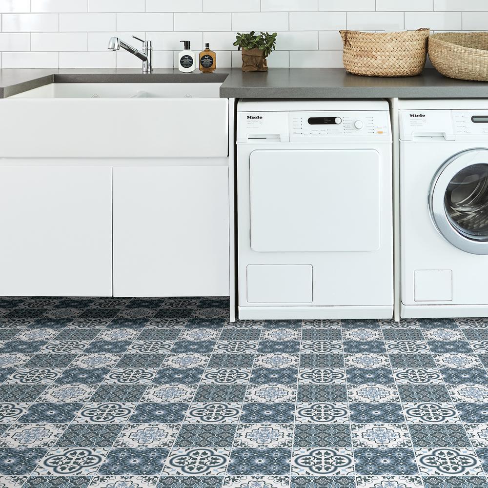 Floorpops Myriad Peel And Stick Floor Tiles 12 In X 12 In 20 Tiles 20 Sq Ft Tfp2951 The Home Depot Tile Floor Peel And Stick Floor Stick On Tiles