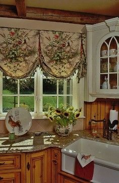 Elegant Country French · Farmhouse Kitchen With Scenic Balloon Valances