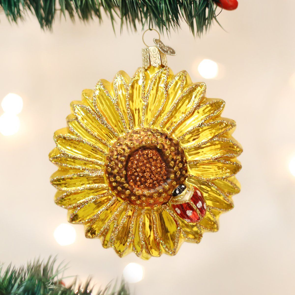 Old World Christmas Sunflower Glass Blown Ornament ** A