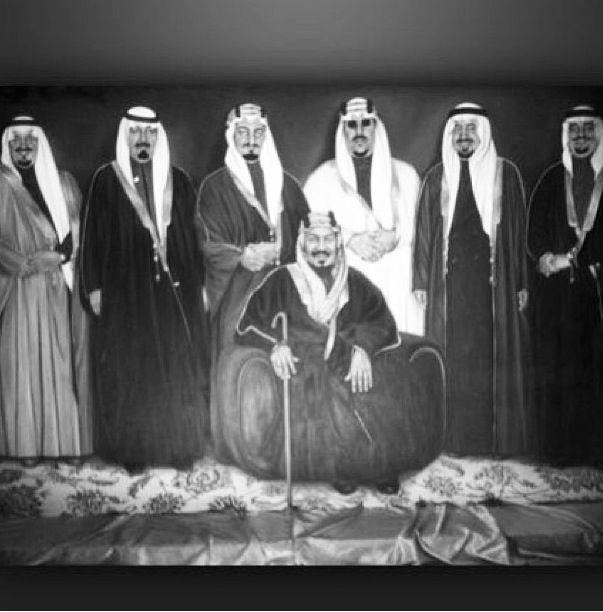 الملك عبد العزيز وأبنائه الملك سعود والملك فيصل والملك خالد والملك