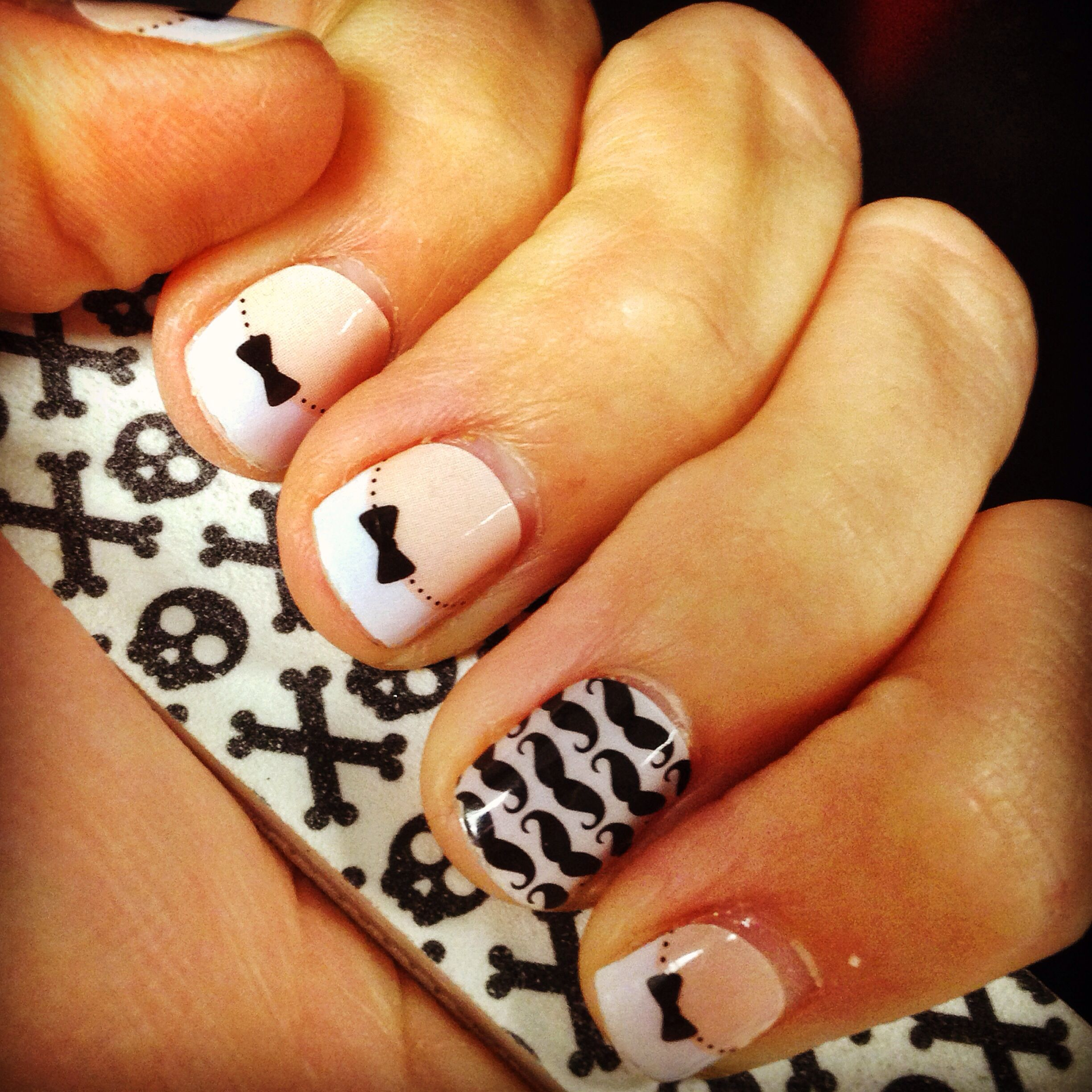 Jamicure with French tip bows (short) & momo - shop my site at http ...