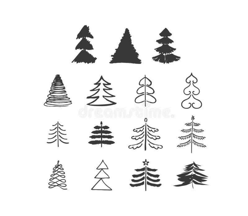 Set Of Hand Drawn Sketch Doodle Vector Christmas Tree Different Shapes Of Christmas Trees Art Brush Vector Stock Illustration Kerst