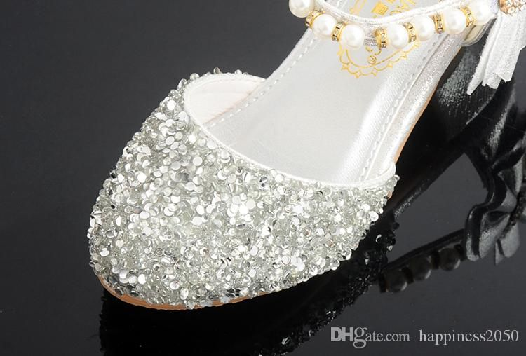 Lovely Pink Gold Silver Flower Girls Shoes Kids Shoes Girls Wedding Shoes Kids Accessories Size 26 37 S321022 Girl Kids Shoes Girl Shoe Sizes From Happiness2050 Flower Girl Shoes Silver Girls