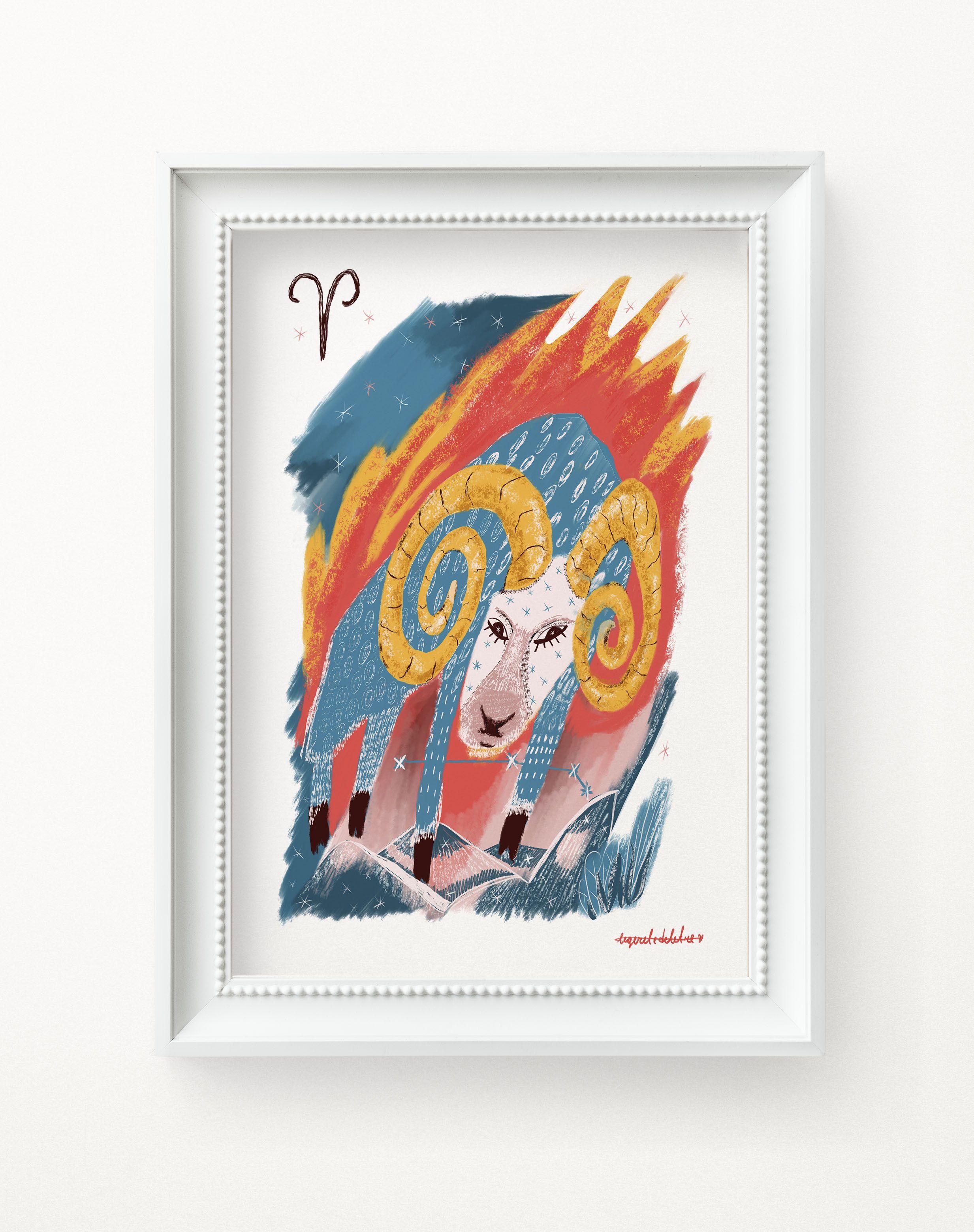 Aries Zodiac Sign Art Print Aries Birthday Gift Aries Etsy In 2020 Sign Art Art Prints Posters Art Prints