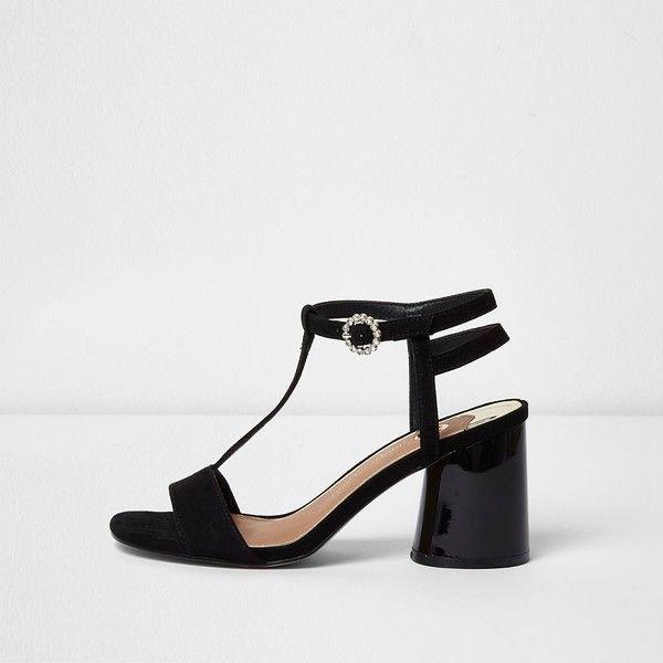 River Island Black T-bar block heel