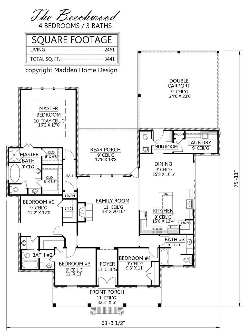 Madden home design the greywood house plans for French acadian house plans louisiana