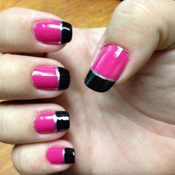 Pink Black And Silver Easy Diy Nail Design Simple Nail Art Pink