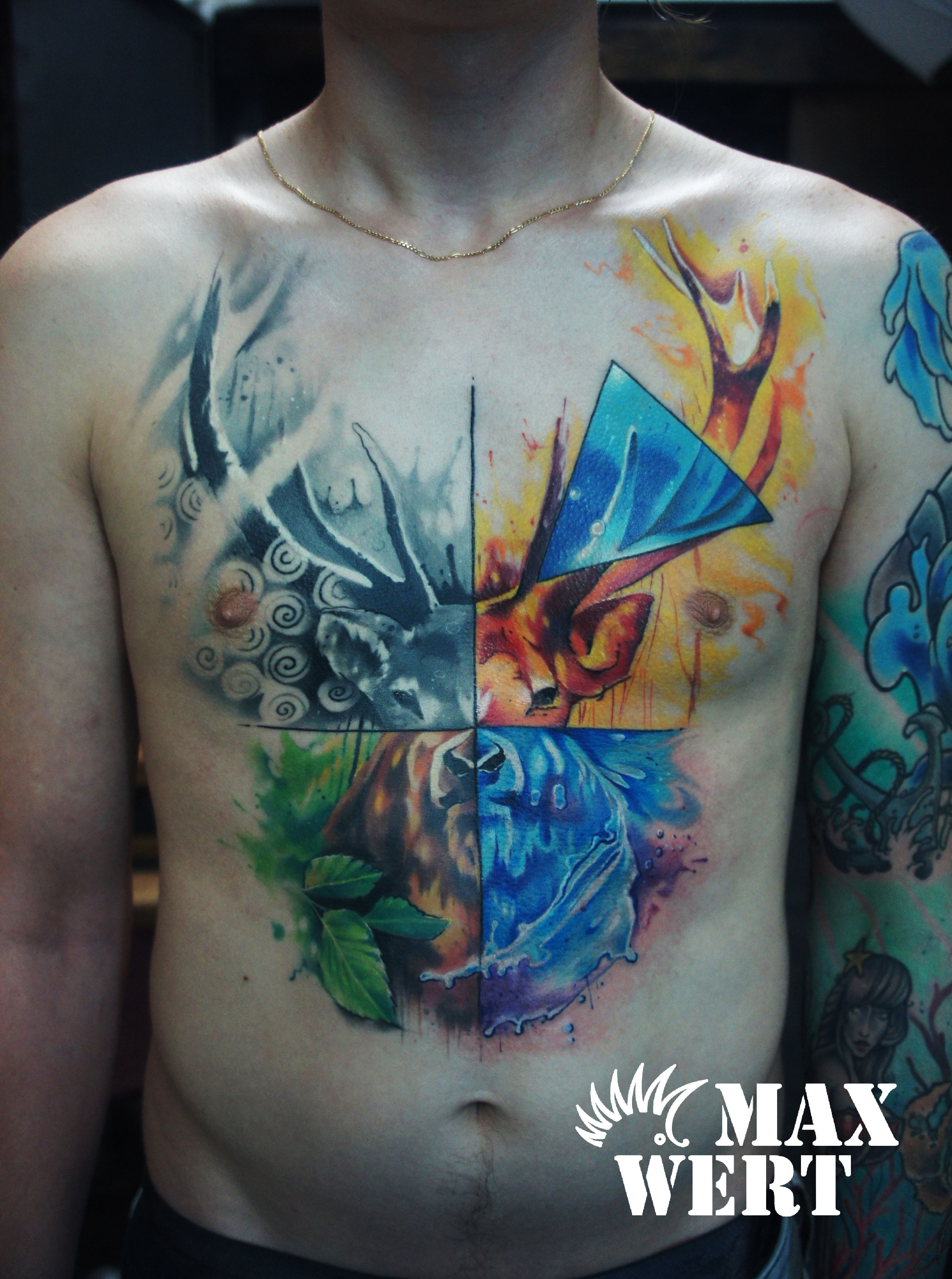 Abstract deer full chest piece incorporasting the 4 ...