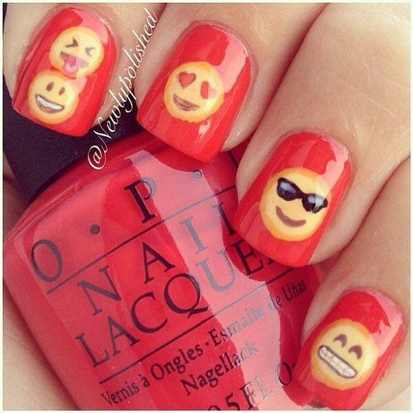 Emoji Nails!!!   emoji   Pinterest   Decoración de uñas, Diseños de ...
