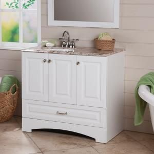 Glacier Bay Stafford 36 In Vanity In White With Stone Effects Vanity Top In Rustic Gold And Mirror Discontin With Images Vanity Combos Vanity Top Small Bathroom Vanities