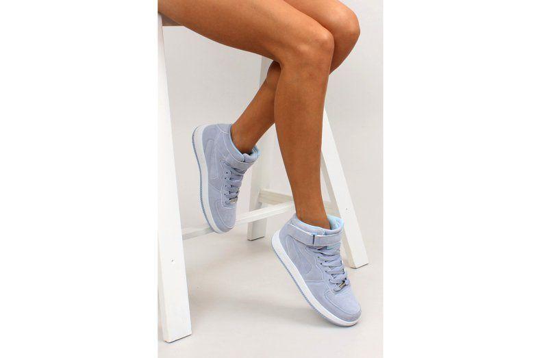 Zamszowe Buty Sportowe Za Kostke B777 Blue Niebieskie White Sneaker Shoes Fashion