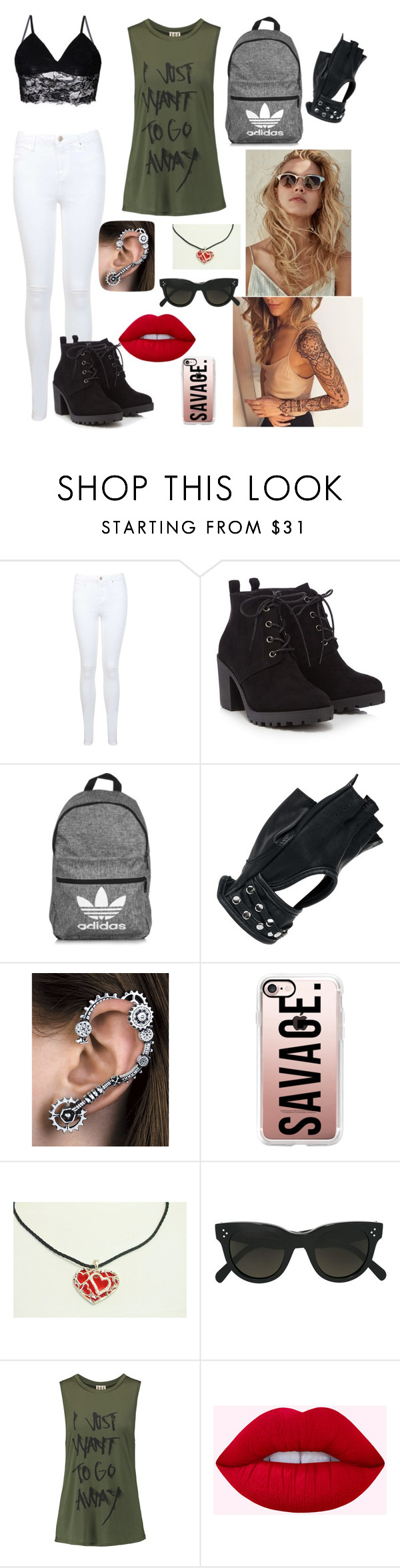 """""""Relax day"""" by angelknipp ❤ liked on Polyvore featuring Miss Selfridge, Red Herring, adidas, Wilsons Leather, WWE, Casetify, CÉLINE and Haute Hippie"""
