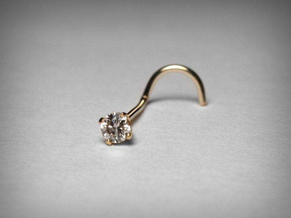Piercing nose diamond  Diamond Nose Stud K  Carat mm Genuine Diamond Nose Stud