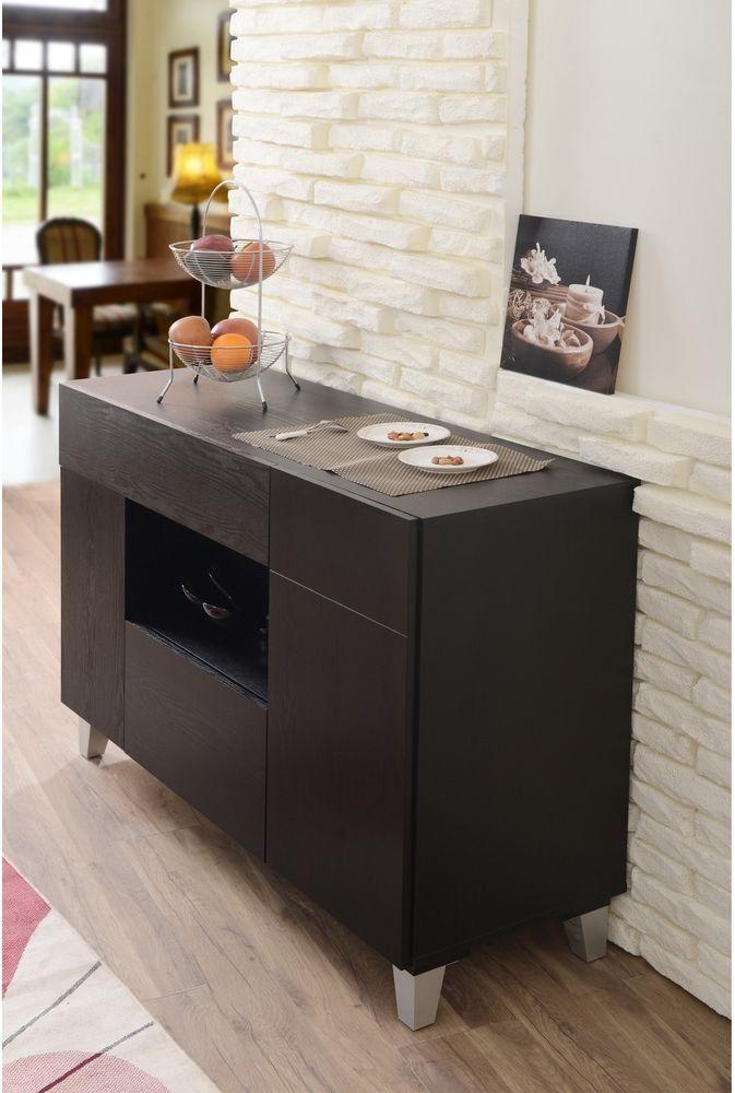 Contemporary Buffet Storage Server Black Finish Wood Dining Modern