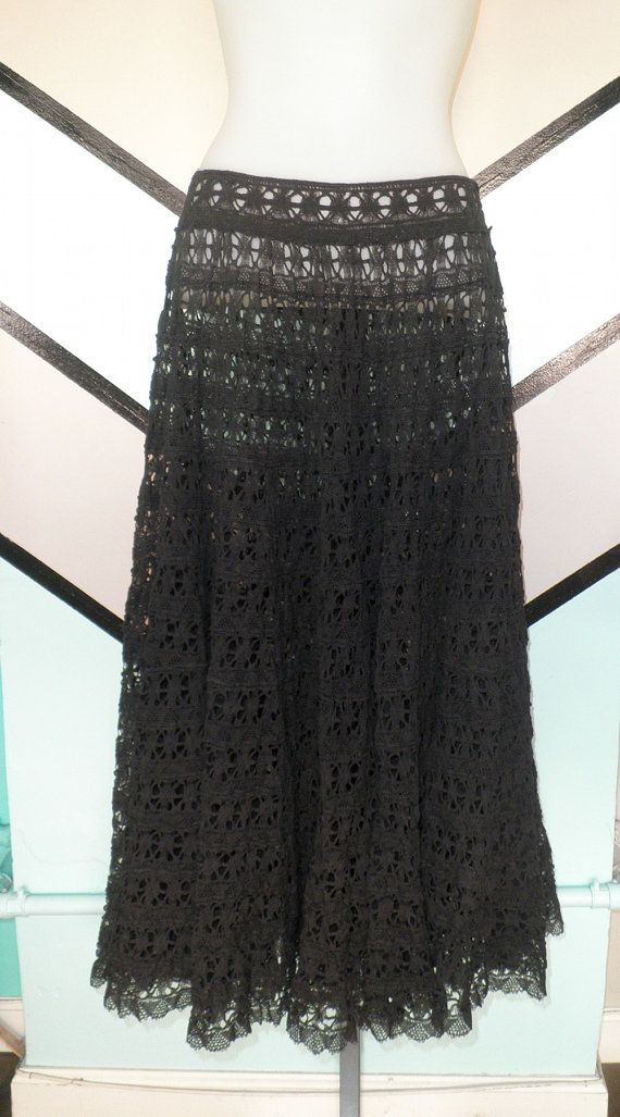 Black Lace Circle Skirt by DCXSpringfield on Etsy, $32.00