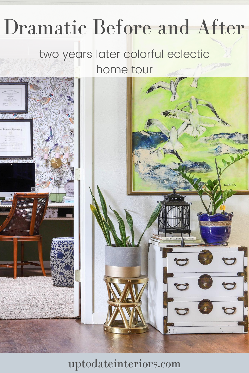See dramatic before and afters in our two years later colorful and eclectic home tour with budget-friendly DIYs and decor. Click over to uptodateinteriors.com for all of the details. #eclecticdecor #eclectichome