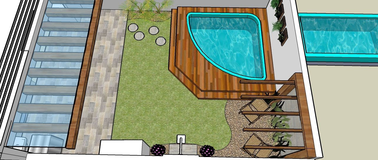 Jardins com piscinas pequenas buscar con google for Como decorar un jacuzzi