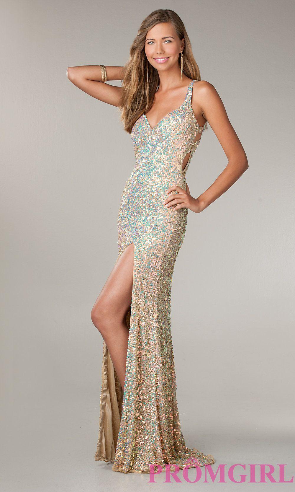 Primavera V Neck Sequin Prom Dress Sequin Evening Gown Promgirl