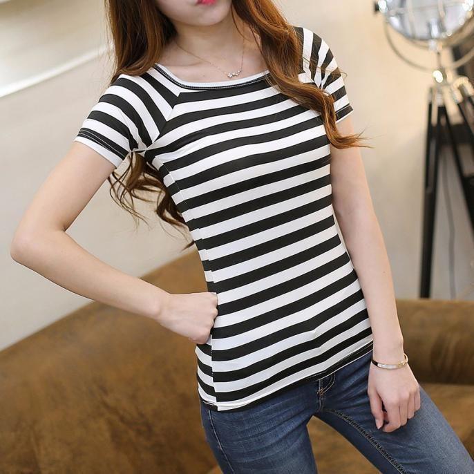 Summer Women Slim Tops Striped Round Neck Short Sleeve T-shirt Blouse Plus  Size 19e9992521