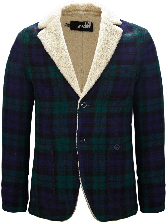 ee3b66b524d3 Moschino Mens Tartan Wool Fleece Jacket Navy Blue & Green: Amazon.co ...