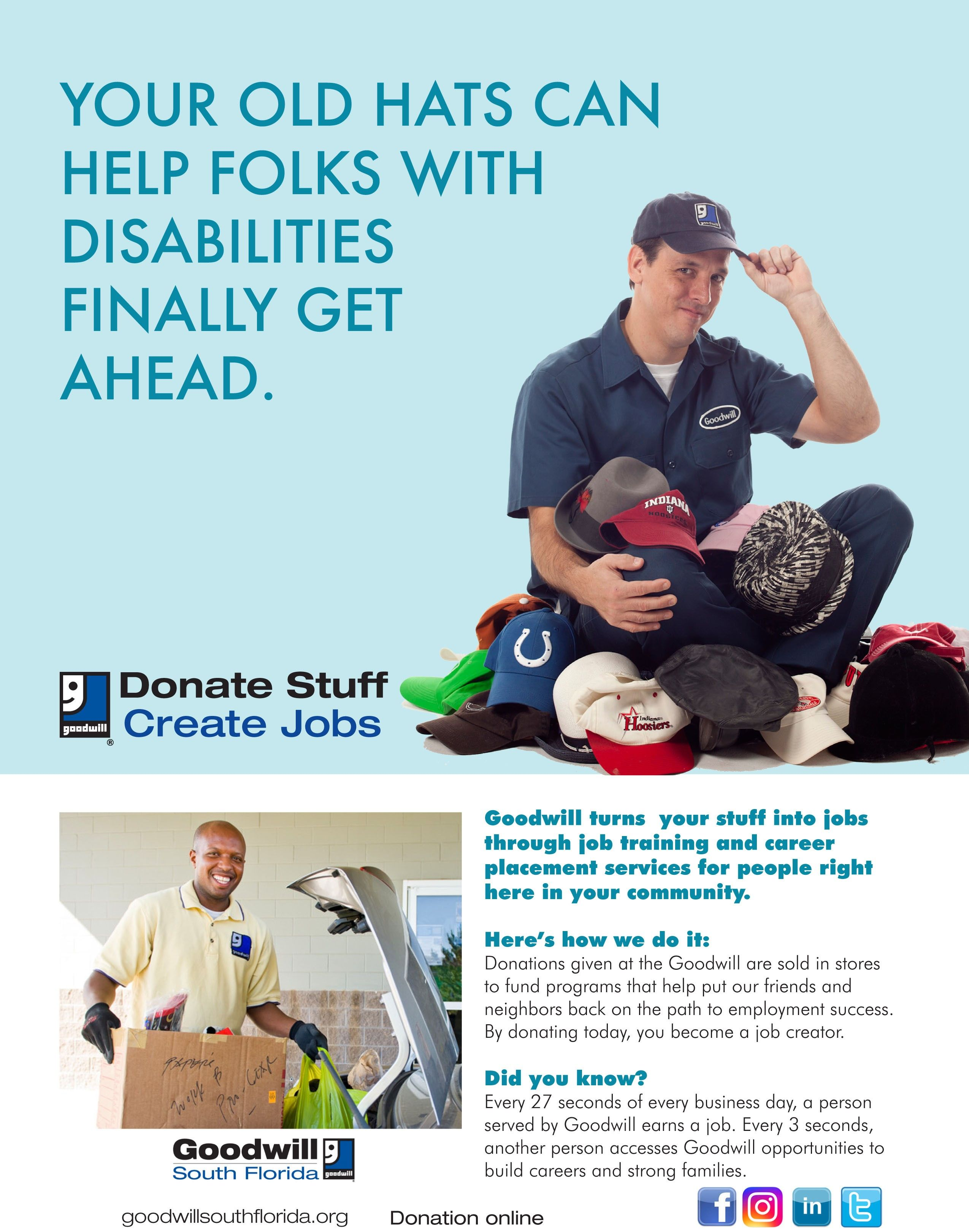 your old hats can help folks with disabilities finally get ahead