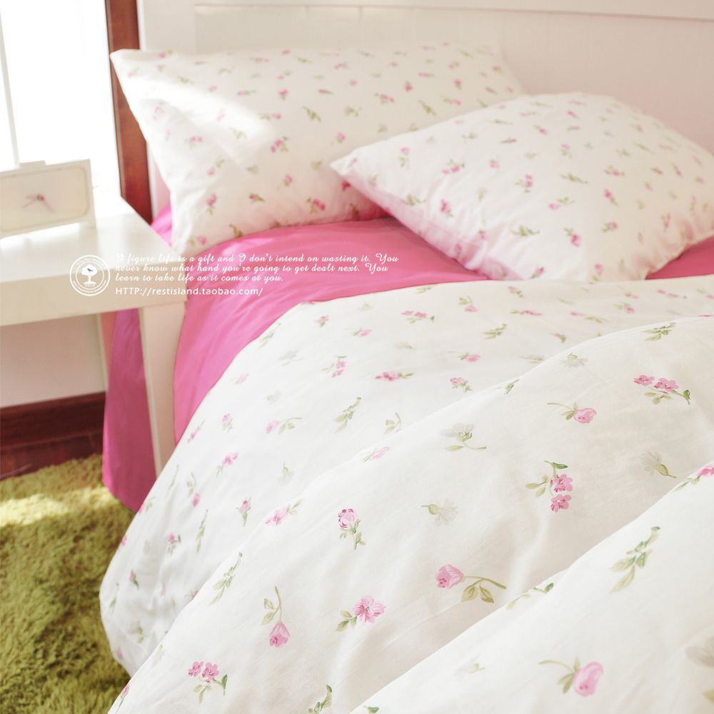 Korean Little Pink Rose Pattern Bedding Sets Floral Comforter