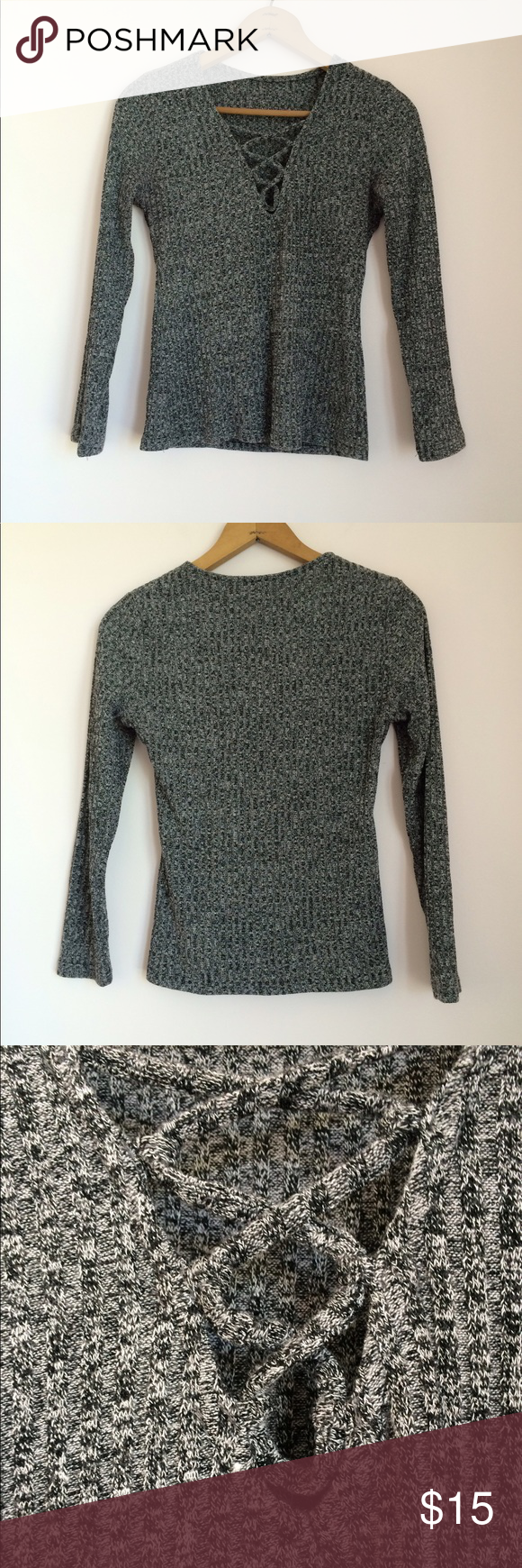 Lace Up Sweater Grey lace up sweater. Reposh. Reselling because it ...