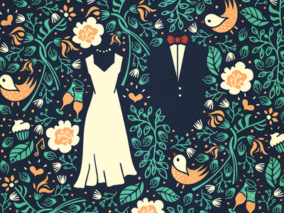 Pattern for a wedding invitation [wip] by Szende Brassai. Love the idea of the pattern and how it is not very crumped :)