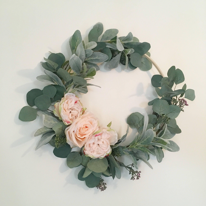 Floral hoop flower embroidery eucalyptus
