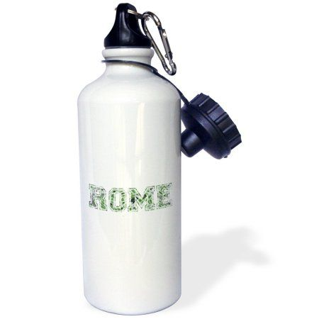 3dRose Rome - green word art text on white made from vintage Italian map - city souvenir - Italy - travel, Sports Water Bottle, 21oz