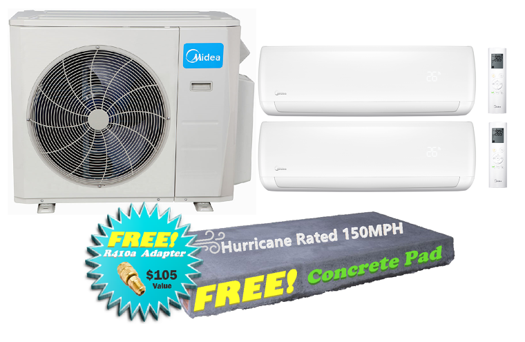 Dual Zone In Minisplitwarehouse Get A Midea 21 Seer 2 18000 Btu 2 Zone Mini Split Heat Pump Ac For 2 399 Heat Pump System Heat Pump Ductless Air Conditioner