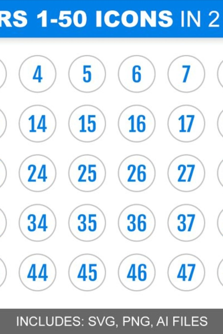 Blue Number Icons 1 50 In 2 Colors Number Icons Icon Hand Drawn Icons