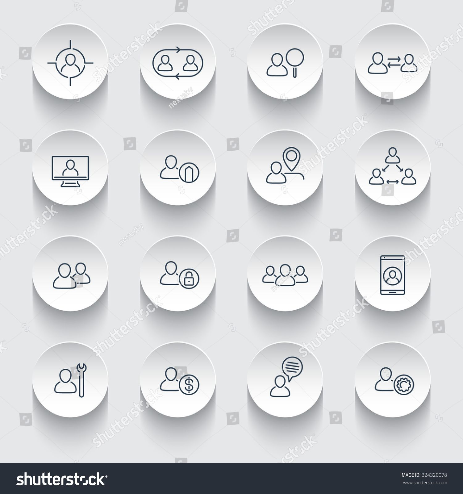 Personnel, Human resources, HR, staff rotation, line icons